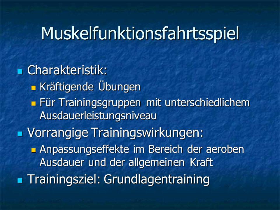 Muskelfunktionsfahrtsspiel Charakteristik: Charakteristik: Kräftigende Übungen Kräftigende Übungen Für Trainingsgruppen mit unterschiedlichem Ausdauer