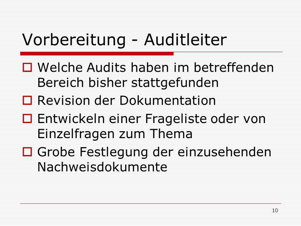 10 Vorbereitung - Auditleiter Welche Audits haben im betreffenden Bereich bisher stattgefunden Revision der Dokumentation Entwickeln einer Frageliste