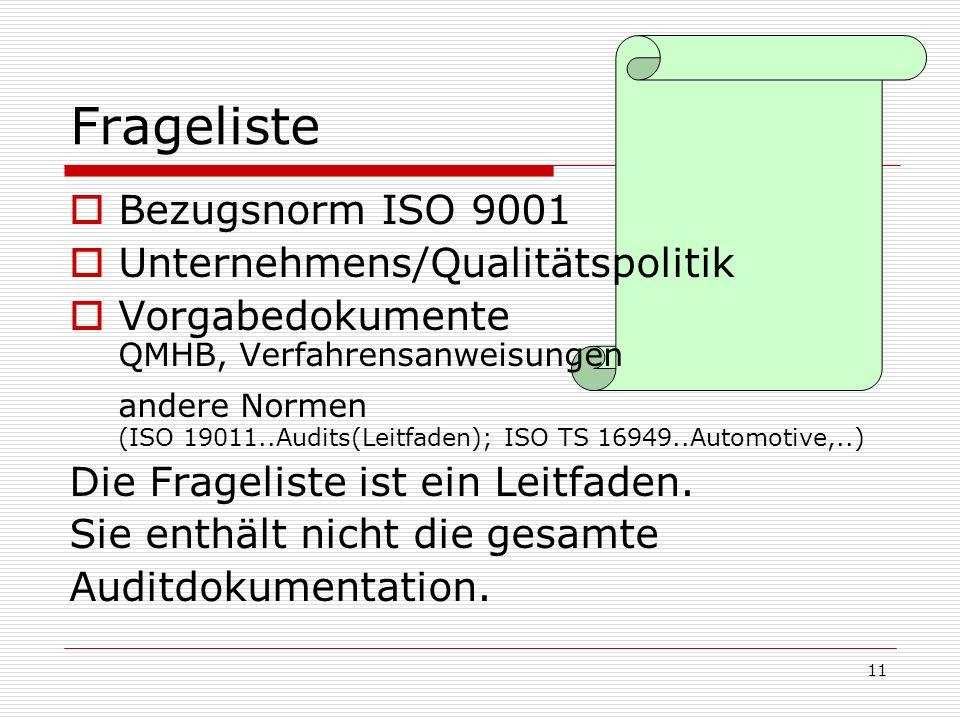 11 Frageliste Bezugsnorm ISO 9001 Unternehmens/Qualitätspolitik Vorgabedokumente QMHB, Verfahrensanweisungen andere Normen (ISO 19011..Audits(Leitfade