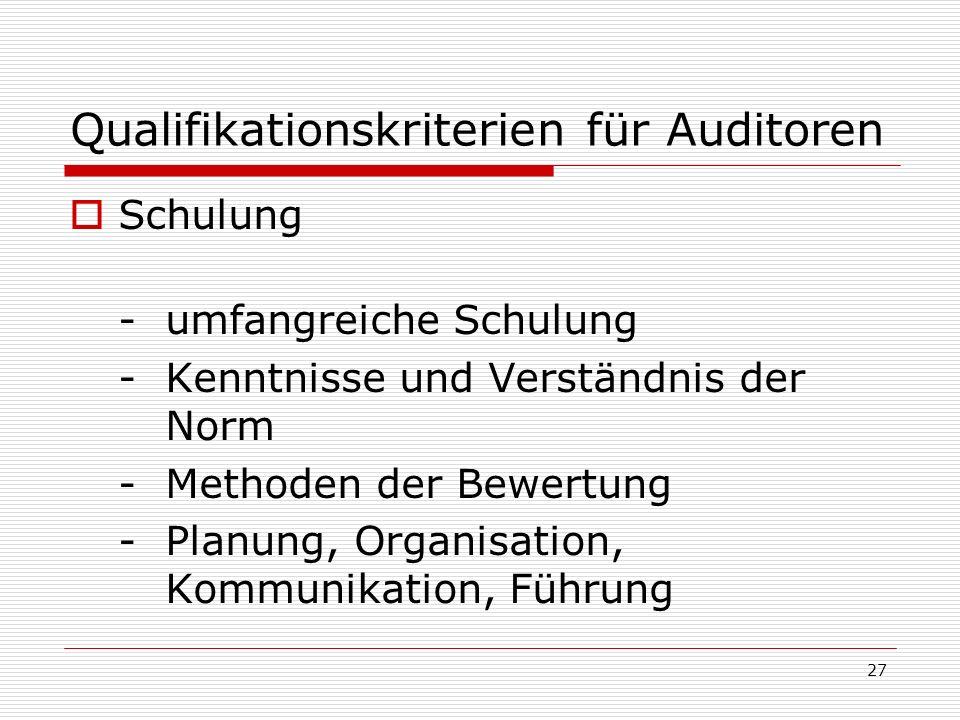27 Qualifikationskriterien für Auditoren Schulung - umfangreiche Schulung - Kenntnisse und Verständnis der Norm - Methoden der Bewertung - Planung, Or