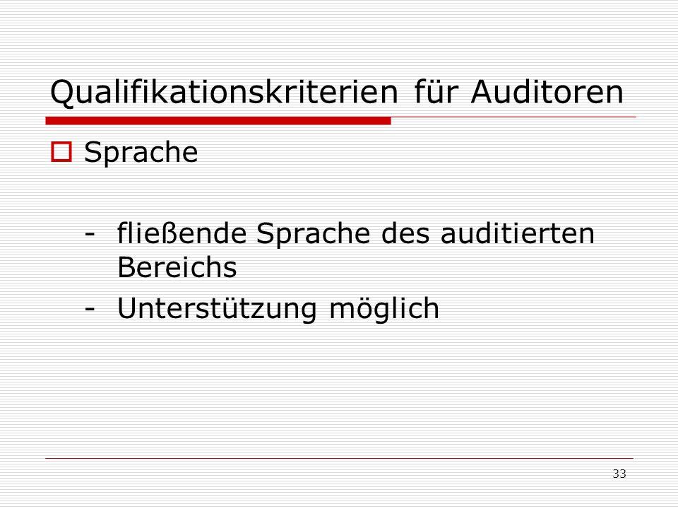 33 Qualifikationskriterien für Auditoren Sprache -fließende Sprache des auditierten Bereichs -Unterstützung möglich