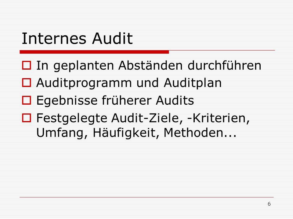6 Internes Audit In geplanten Abständen durchführen Auditprogramm und Auditplan Egebnisse früherer Audits Festgelegte Audit-Ziele, -Kriterien, Umfang,