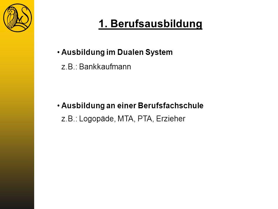 1. Berufsausbildung Ausbildung im Dualen System z.B.: Bankkaufmann Ausbildung an einer Berufsfachschule z.B.: Logopäde, MTA, PTA, Erzieher