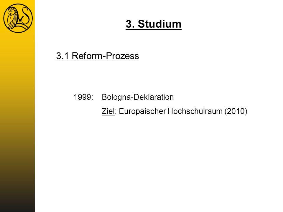 1999:Bologna-Deklaration Ziel: Europäischer Hochschulraum (2010) 3. Studium 3.1 Reform-Prozess