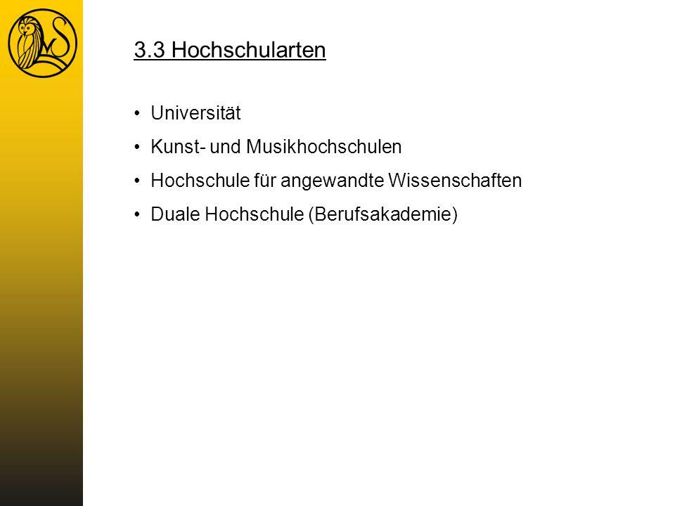 3.3 Hochschularten Universität Kunst- und Musikhochschulen Hochschule für angewandte Wissenschaften Duale Hochschule (Berufsakademie)