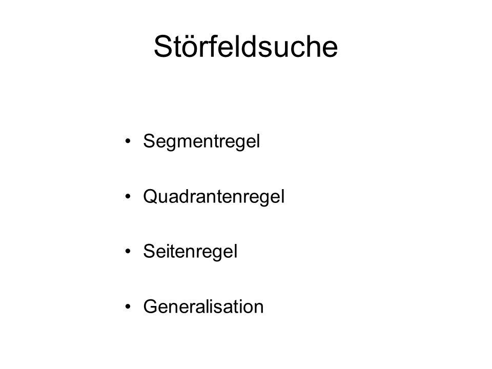 Störfeldsuche Segmentregel Quadrantenregel Seitenregel Generalisation