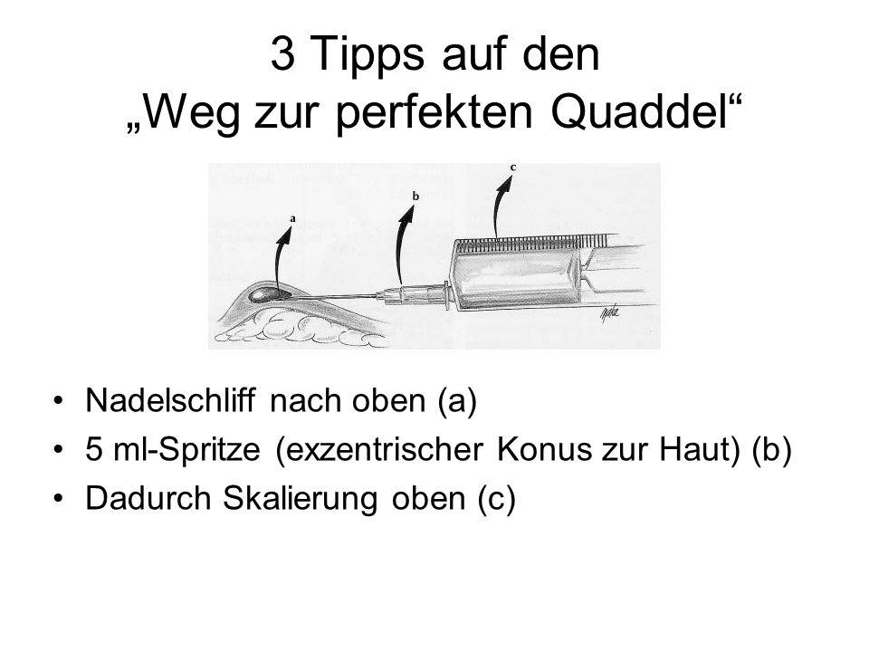 3 Tipps auf den Weg zur perfekten Quaddel Nadelschliff nach oben (a) 5 ml-Spritze (exzentrischer Konus zur Haut) (b) Dadurch Skalierung oben (c)