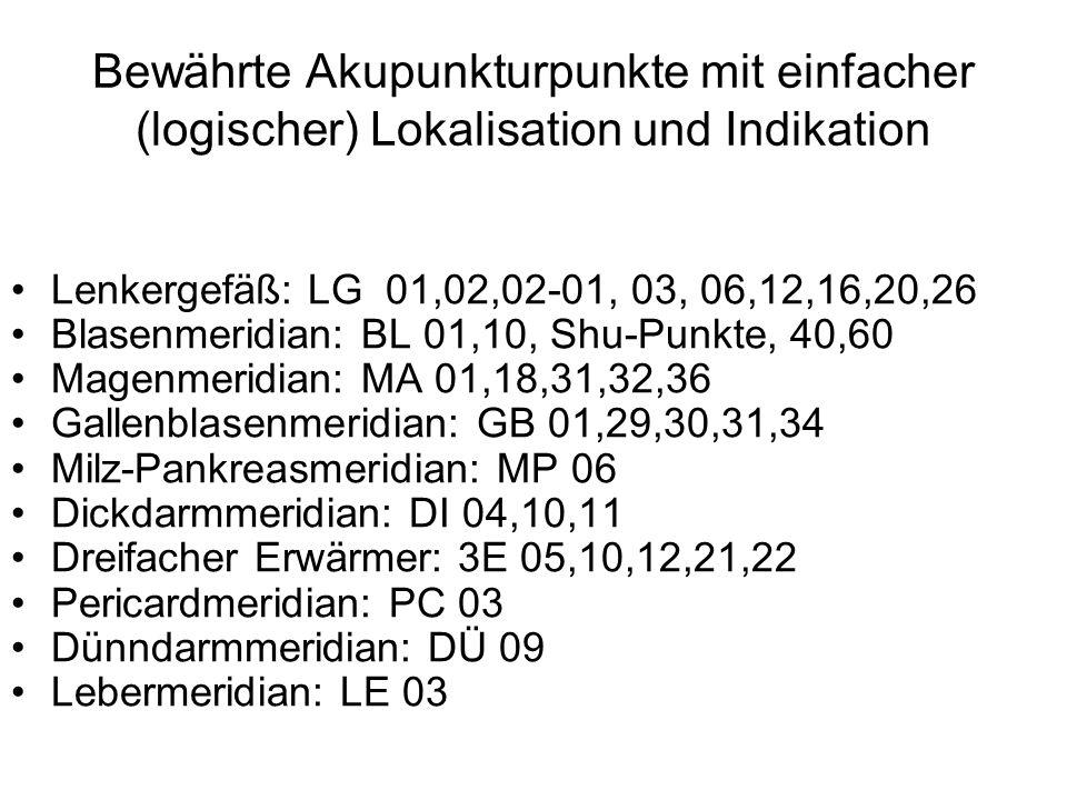 Bewährte Akupunkturpunkte mit einfacher (logischer) Lokalisation und Indikation Lenkergefäß: LG 01,02,02-01, 03, 06,12,16,20,26 Blasenmeridian: BL 01,