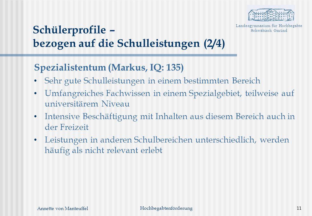 Landesgymnasium für Hochbegabte Schwäbisch Gmünd Annette von Manteuffel Hochbegabtenförderung11 Schülerprofile – bezogen auf die Schulleistungen (2/4)