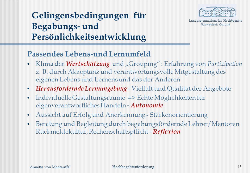 Landesgymnasium für Hochbegabte Schwäbisch Gmünd Annette von Manteuffel Gelingensbedingungen für Begabungs- und Persönlichkeitsentwicklung Passendes L