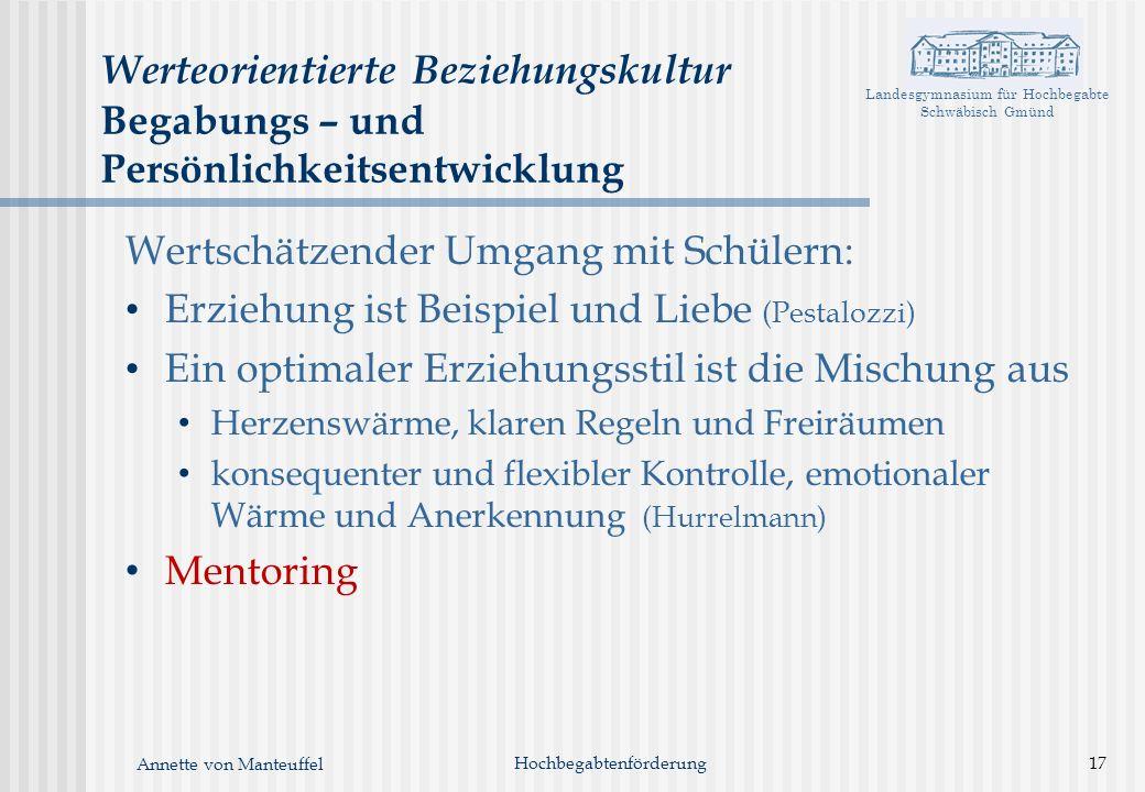 Landesgymnasium für Hochbegabte Schwäbisch Gmünd Annette von Manteuffel Werteorientierte Beziehungskultur Begabungs – und Persönlichkeitsentwicklung W