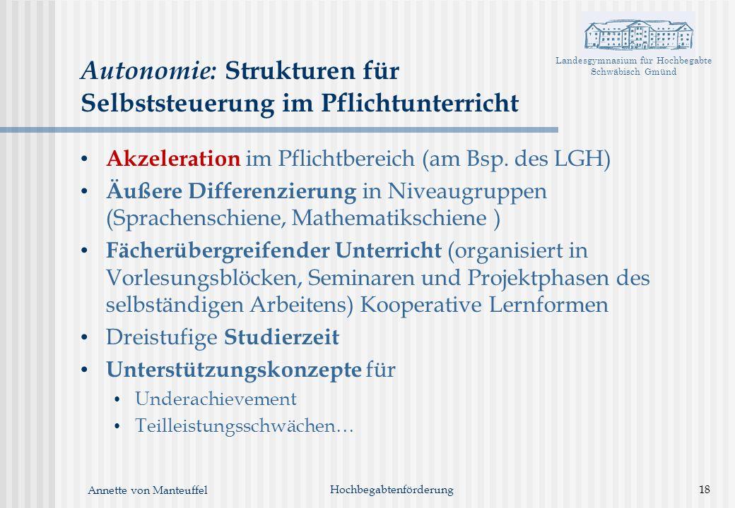 Landesgymnasium für Hochbegabte Schwäbisch Gmünd Annette von Manteuffel Hochbegabtenförderung18 Autonomie: Strukturen für Selbststeuerung im Pflichtun