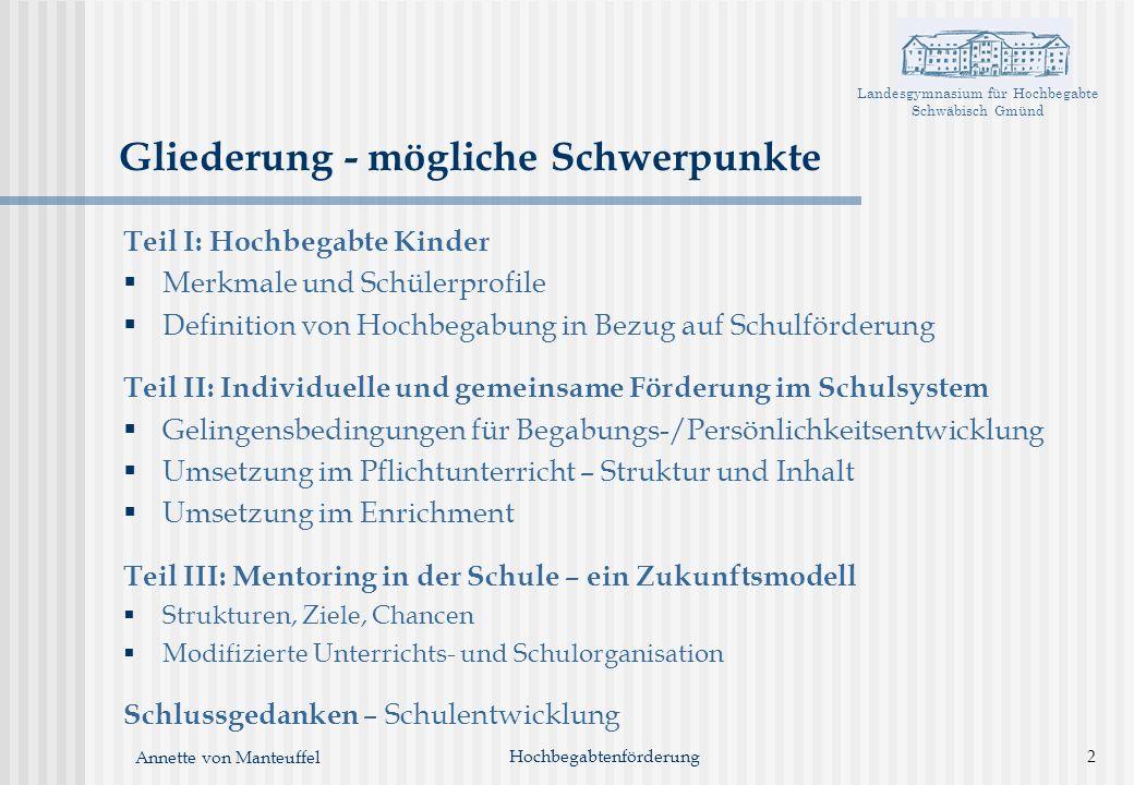 Landesgymnasium für Hochbegabte Schwäbisch Gmünd Annette von Manteuffel Gliederung - mögliche Schwerpunkte Teil I: Hochbegabte Kinder Merkmale und Sch