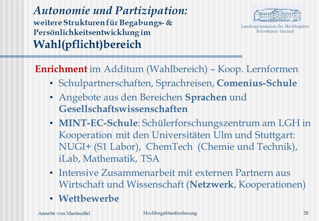 Landesgymnasium für Hochbegabte Schwäbisch Gmünd Annette von Manteuffel Hochbegabtenförderung20 Autonomie und Partizipation: weitere Strukturen für Be