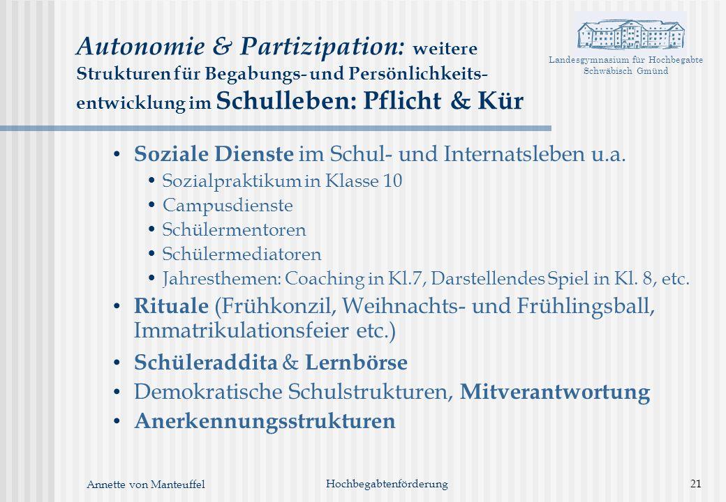 Landesgymnasium für Hochbegabte Schwäbisch Gmünd Annette von Manteuffel Hochbegabtenförderung21 Autonomie & Partizipation: weitere Strukturen für Bega