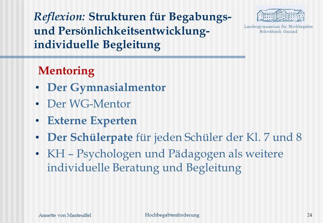 Landesgymnasium für Hochbegabte Schwäbisch Gmünd Annette von Manteuffel Hochbegabtenförderung24 Reflexion: Strukturen für Begabungs- und Persönlichkei