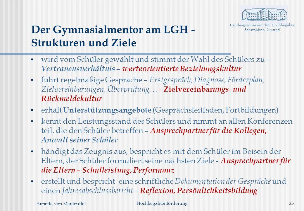 Landesgymnasium für Hochbegabte Schwäbisch Gmünd Annette von Manteuffel Hochbegabtenförderung25 Der Gymnasialmentor am LGH - Strukturen und Ziele wird