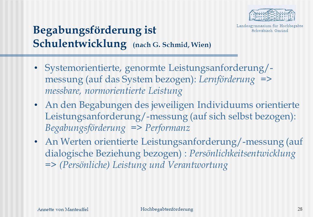 Landesgymnasium für Hochbegabte Schwäbisch Gmünd Annette von Manteuffel Begabungsförderung ist Schulentwicklung (nach G. Schmid, Wien) Systemorientier
