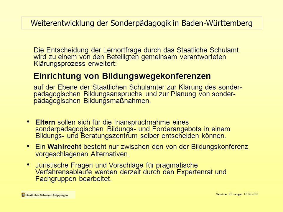 Seminar Ellwangen 16.06.2010 Aufbau von Bildungswegekonferenzen im SSA Göppingen: Sicherung von Ressourcen im Rahmen von SP-Stunden (26) Aufbau von Bildungswegekonferenzen im SSA Göppingen: Sicherung von Ressourcen im Rahmen von SP-Stunden (26) - Qualitätsentwicklung (FB) - Neutralität und Objektivität - Regionalität Weiterentwicklung der Sonderpädagogik in Baden-Württemberg Konkretisierung SSA-GP Einrichtung von Bildungswegekonferenzen