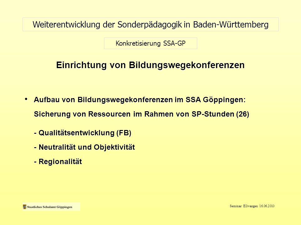 Seminar Ellwangen 16.06.2010 Aufbau von Bildungswegekonferenzen im SSA Göppingen: Sicherung von Ressourcen im Rahmen von SP-Stunden (26) Aufbau von Bi