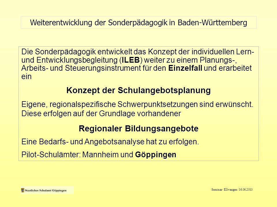 Seminar Ellwangen 16.06.2010 Weiterentwicklung der Sonderpädagogik in Baden-Württemberg Die Sonderpädagogik entwickelt das Konzept der individuellen L