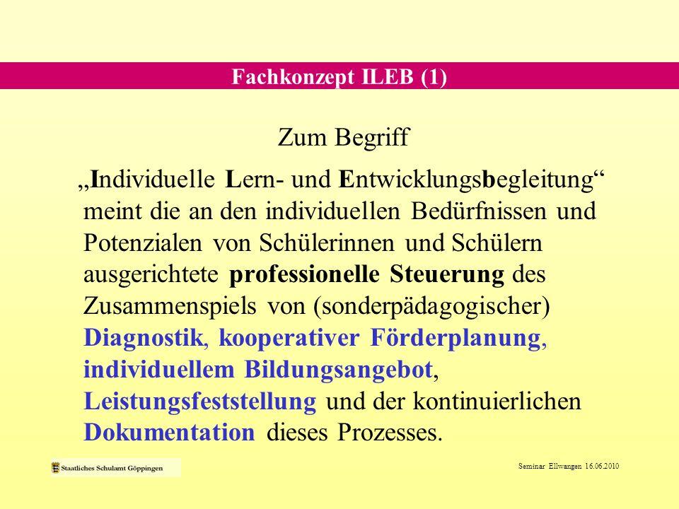 Seminar Ellwangen 16.06.2010 Dokumentation Diagnostik Kooperative Förderplanung Individuelles Bildungsangebot Leistungs- feststellung Dokumentation Fachkonzept ILEB (2)