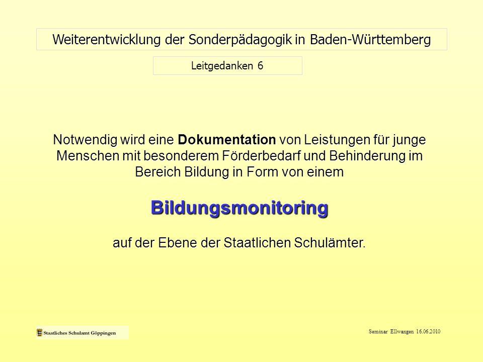 Seminar Ellwangen 16.06.2010 Beteiligung der Zivilgesellschaft Weiterentwicklung der Sonderpädagogik in Baden-Württemberg Kontinuierliche Beteiligung der Zivilgesellschaft auf allen Ebenen der Schulverwaltung Aktivität und Teilhabe im Sinne der ICF Einbezug der Betroffenen Barrierefreiheit,....
