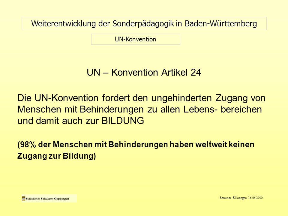Seminar Ellwangen 16.06.2010 UN – Konvention Artikel 24 Die UN-Konvention fordert den ungehinderten Zugang von Menschen mit Behinderungen zu allen Leb