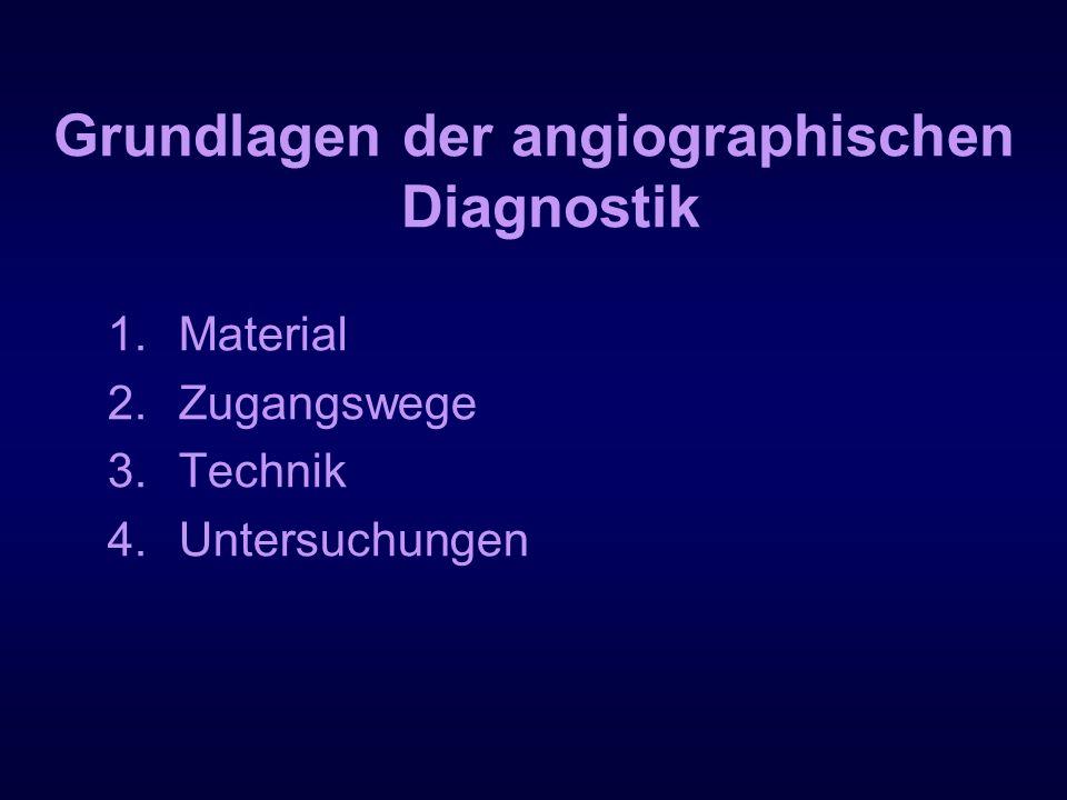 Grundlagen der angiographischen Diagnostik 1.Material 2.Zugangswege 3.Technik 4.Untersuchungen
