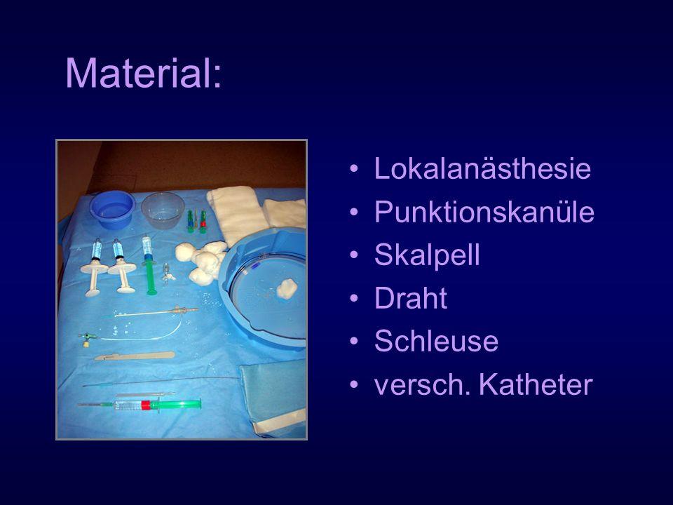 Material: Lokalanästhesie Punktionskanüle Skalpell Draht Schleuse versch. Katheter