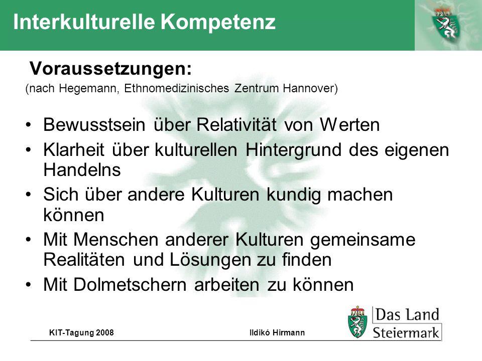 Autor KIT-Tagung 2008Ildikó Hirmann Interkulturelle Kompetenz Voraussetzungen: (nach Hegemann, Ethnomedizinisches Zentrum Hannover) Bewusstsein über R