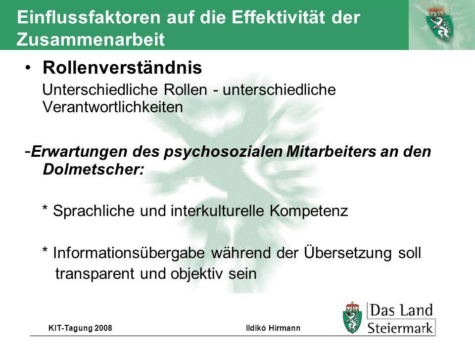 Autor KIT-Tagung 2008Ildikó Hirmann Einflussfaktoren auf die Effektivität der Zusammenarbeit Rollenverständnis Unterschiedliche Rollen - unterschiedli