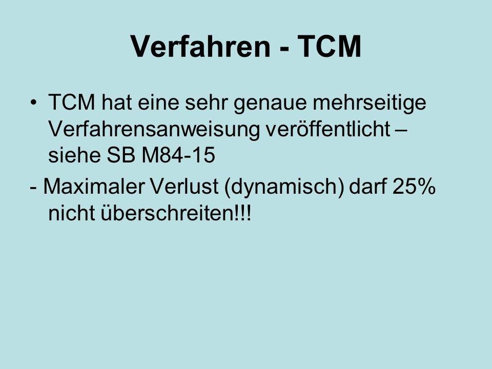 Verfahren - TCM TCM hat eine sehr genaue mehrseitige Verfahrensanweisung veröffentlicht – siehe SB M84-15 - Maximaler Verlust (dynamisch) darf 25% nicht überschreiten!!!