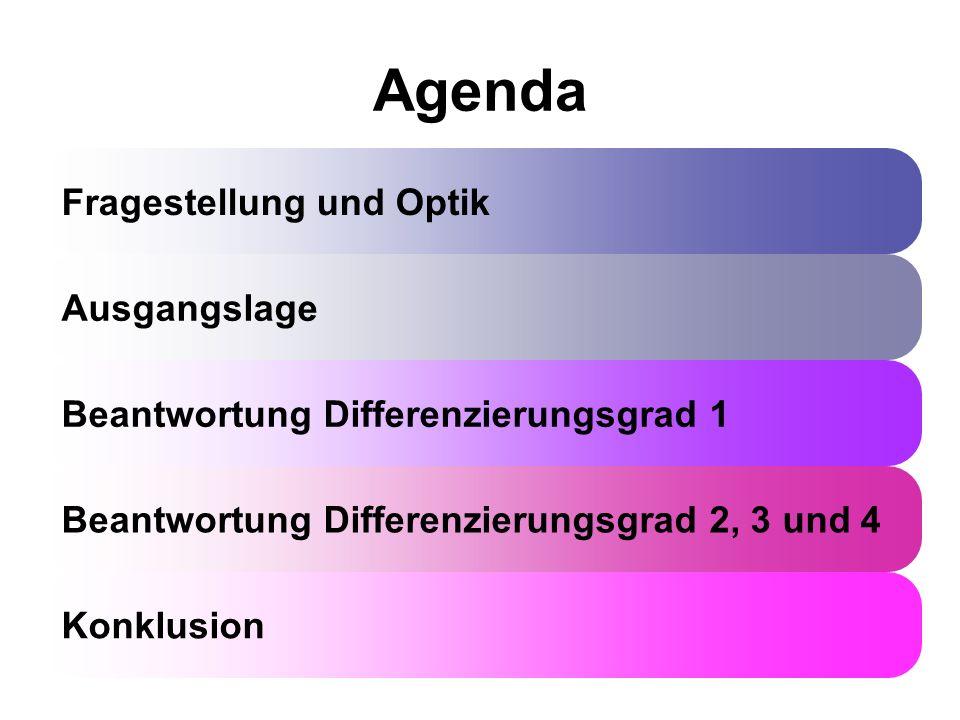 Agenda Fragestellung und Optik Ausgangslage Beantwortung Differenzierungsgrad 1 Beantwortung Differenzierungsgrad 2, 3 und 4 Konklusion