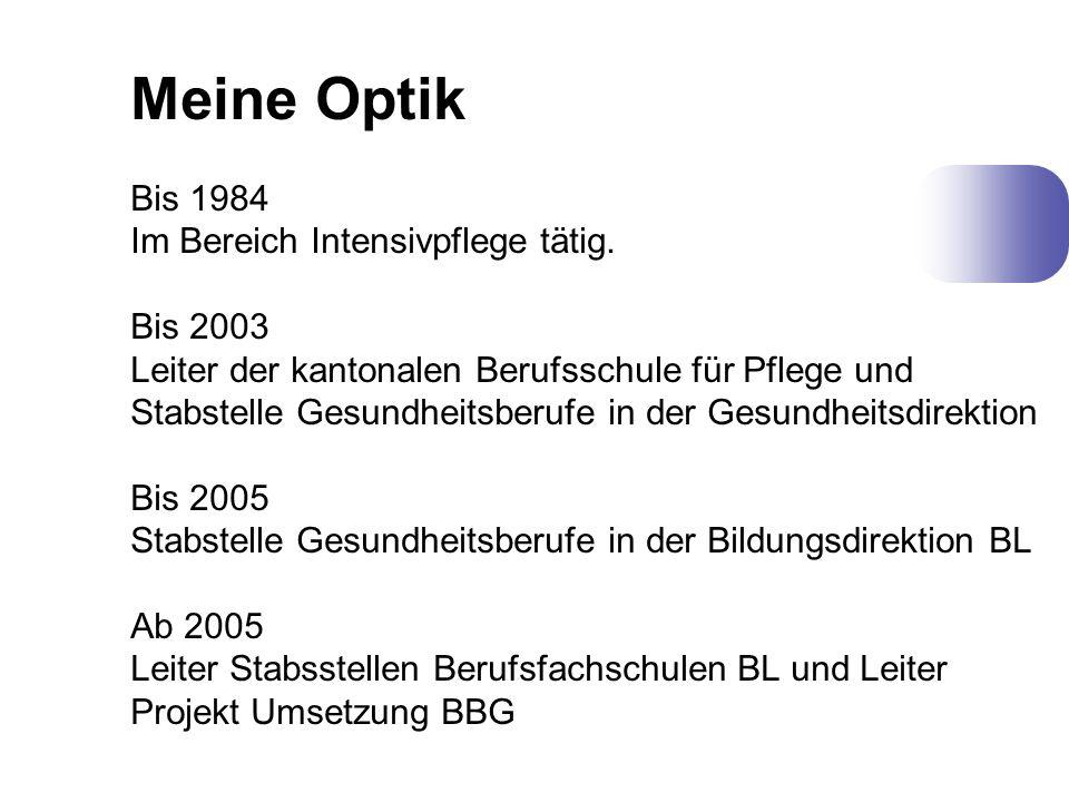 Meine Optik Bis 1984 Im Bereich Intensivpflege tätig. Bis 2003 Leiter der kantonalen Berufsschule für Pflege und Stabstelle Gesundheitsberufe in der G