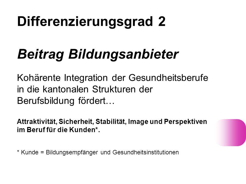 Differenzierungsgrad 2 Beitrag Bildungsanbieter Kohärente Integration der Gesundheitsberufe in die kantonalen Strukturen der Berufsbildung fördert… At