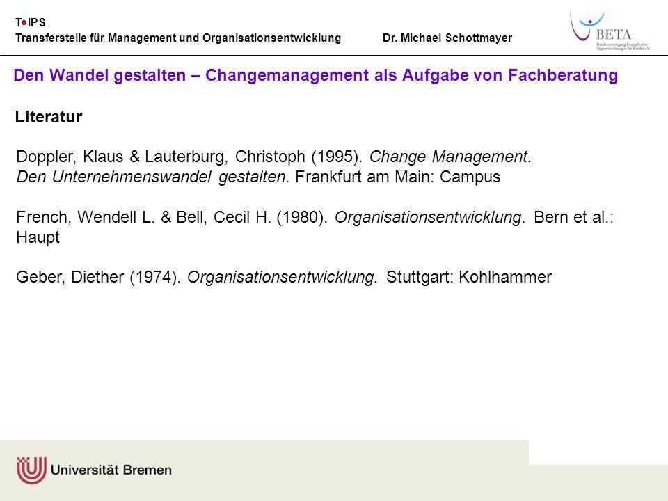 Transferstelle für Management und Organisationsentwicklung Dr. Michael Schottmayer T IPS Den Wandel gestalten – Changemanagement als Aufgabe von Fachb