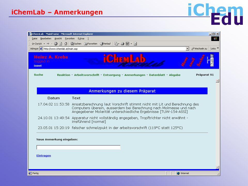 iChemLab – Anmerkungen