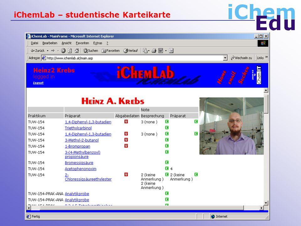 iChemLab – studentische Karteikarte