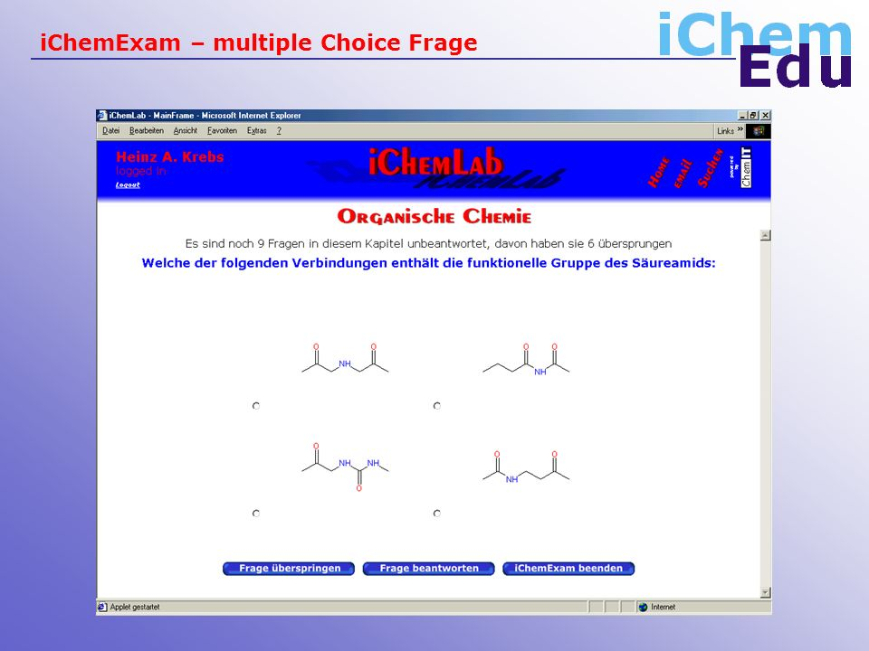 iChemExam – multiple Choice Frage