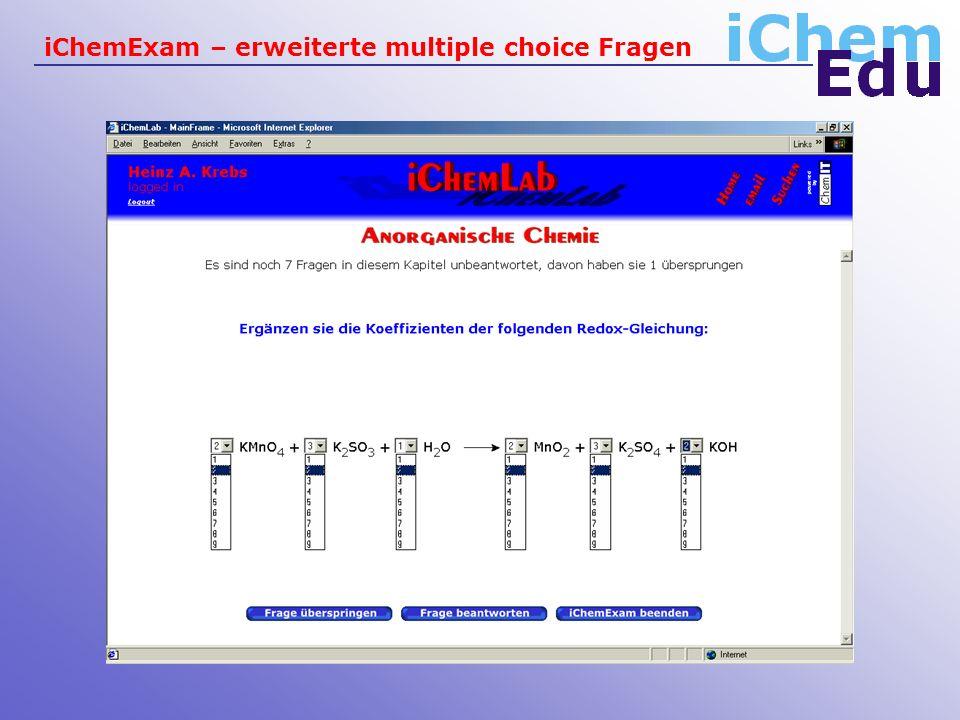iChemExam – erweiterte multiple choice Fragen