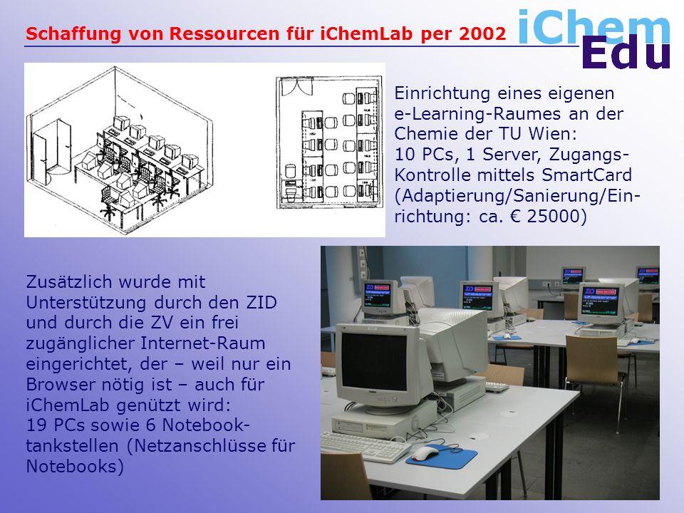 Schaffung von Ressourcen für iChemLab per 2002 Zusätzlich wurde mit Unterstützung durch den ZID und durch die ZV ein frei zugänglicher Internet-Raum eingerichtet, der – weil nur ein Browser nötig ist – auch für iChemLab genützt wird: 19 PCs sowie 6 Notebook- tankstellen (Netzanschlüsse für Notebooks) Einrichtung eines eigenen e-Learning-Raumes an der Chemie der TU Wien: 10 PCs, 1 Server, Zugangs- Kontrolle mittels SmartCard (Adaptierung/Sanierung/Ein- richtung: ca.