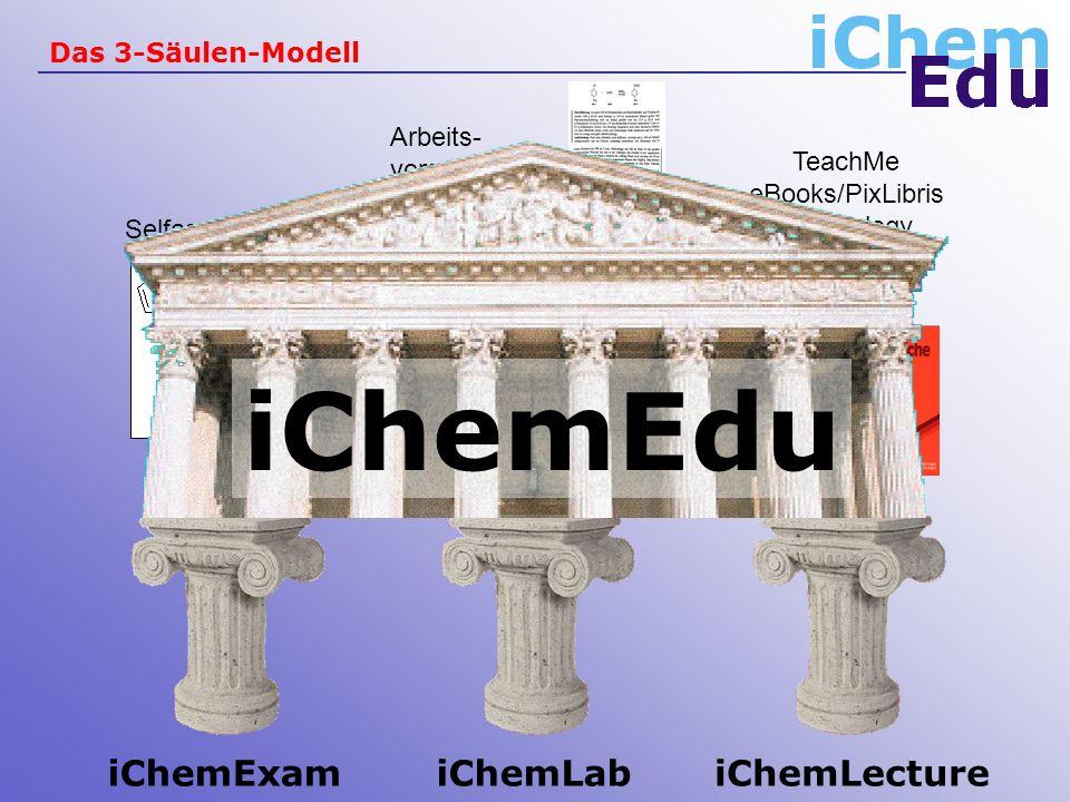 Das 3-Säulen-Modell iChemLabiChemLectureiChemExam Ergebnisse Sicherheits- informationen Selfassessement TeachMe eBooks/PixLibris Technology Arbeits- vorschriften iChemEdu
