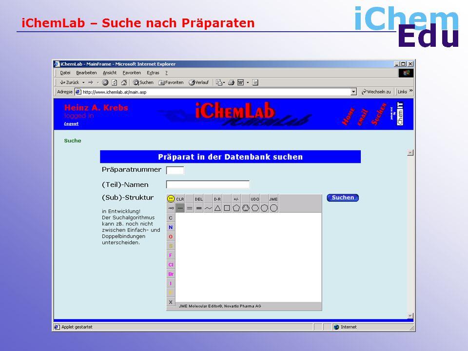 iChemLab – Suche nach Präparaten