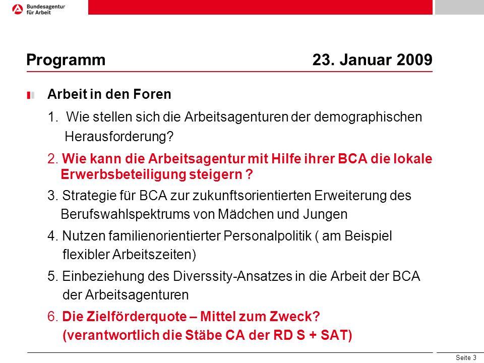 Seite 3 Programm 23. Januar 2009 Arbeit in den Foren 1. Wie stellen sich die Arbeitsagenturen der demographischen Herausforderung? 2. Wie kann die Arb