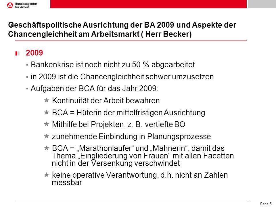 Seite 5 2009 Bankenkrise ist noch nicht zu 50 % abgearbeitet in 2009 ist die Chancengleichheit schwer umzusetzen Aufgaben der BCA für das Jahr 2009: K