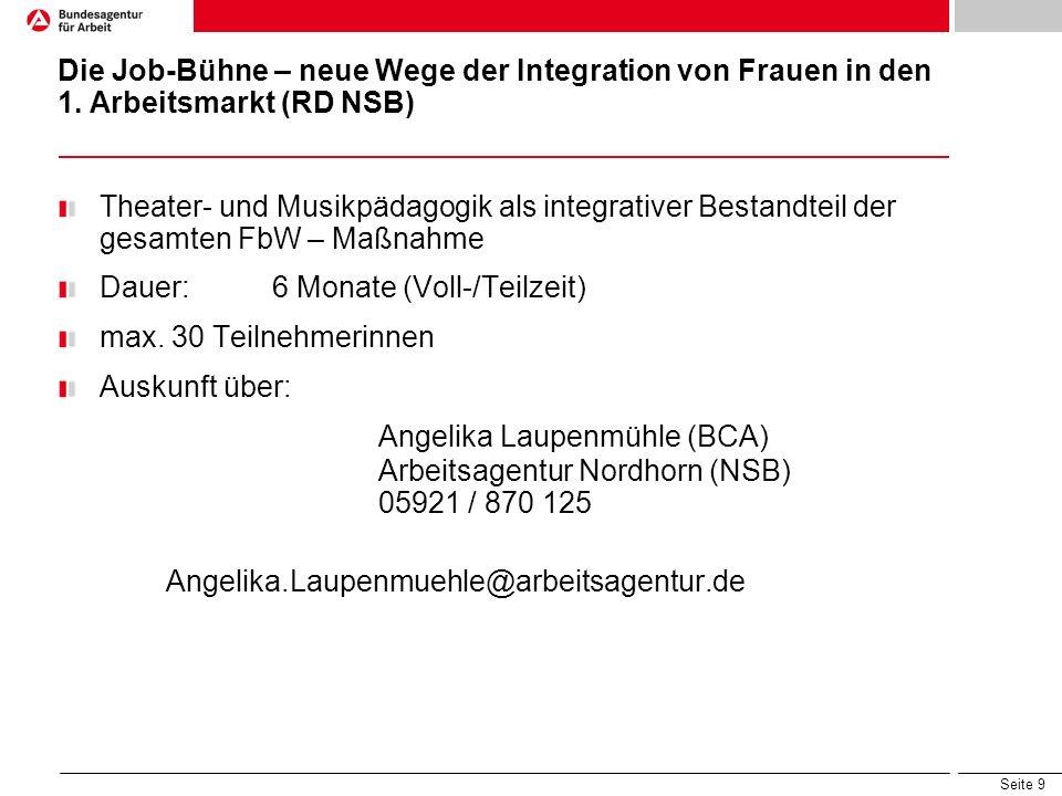 Seite 9 Die Job-Bühne – neue Wege der Integration von Frauen in den 1. Arbeitsmarkt (RD NSB) Theater- und Musikpädagogik als integrativer Bestandteil