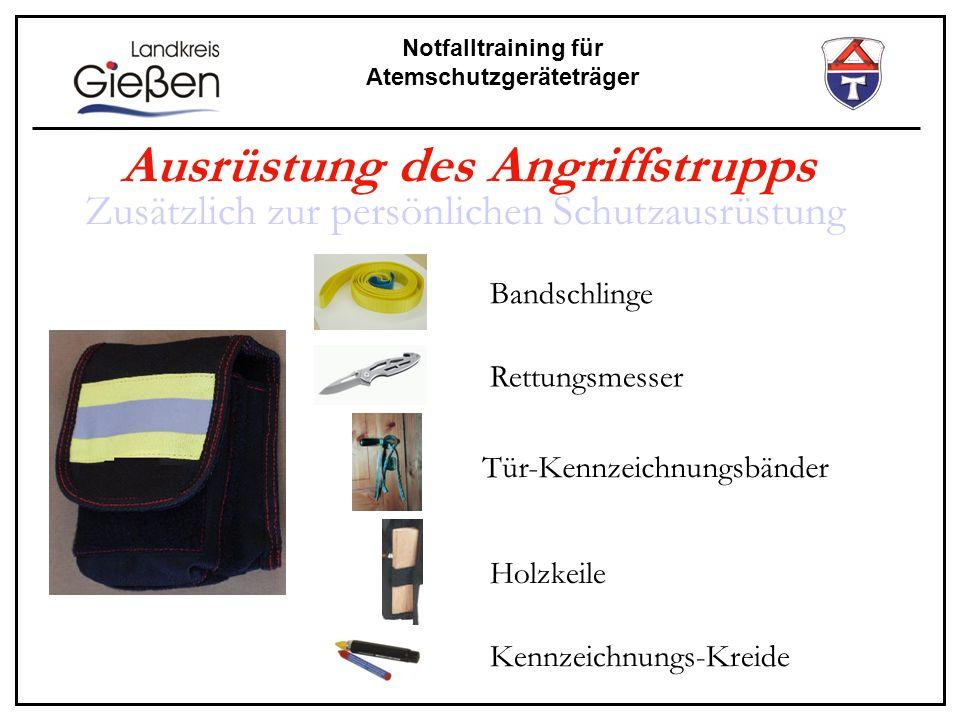 Notfalltraining für Atemschutzgeräteträger Bandschlinge Rettungsmesser Tür-Kennzeichnungsbänder Holzkeile Kennzeichnungs-Kreide Ausrüstung des Angriff