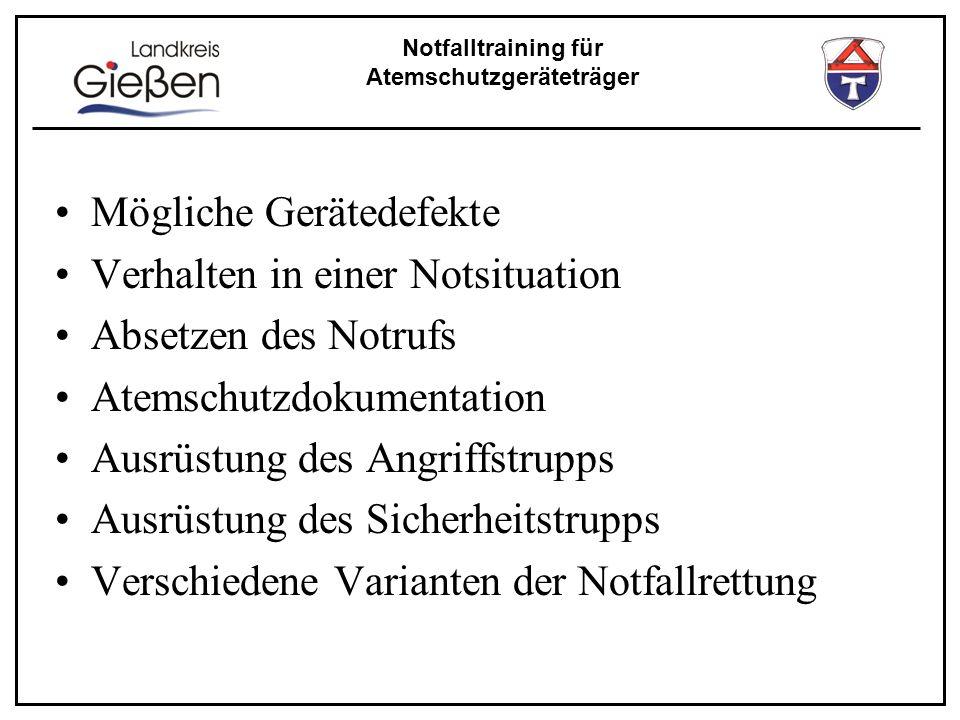Notfalltraining für Atemschutzgeräteträger Wie kann es zu einem Notfall kommen .