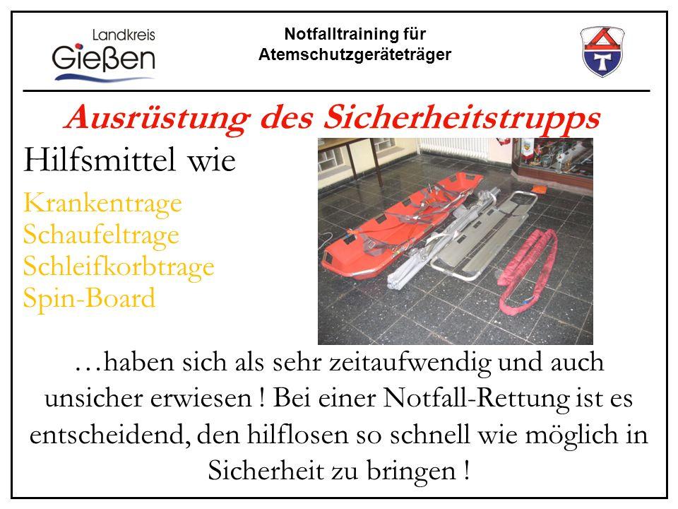 Notfalltraining für Atemschutzgeräteträger Ausrüstung des Sicherheitstrupps Hilfsmittel wie Krankentrage Schaufeltrage Schleifkorbtrage Spin-Board …ha